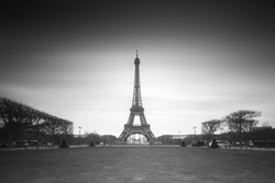 Beautiful cityscape view of the Eiffeltower in Paris, France, a popular tourist attraction, in black and white