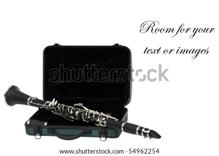 Beautiful clarinet on its travel case isolated on white  with room for your text or images