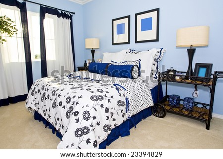 Beautiful classic bedroom in shades of blue