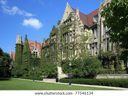 Beautiful classic ivy clad halls on a university campus