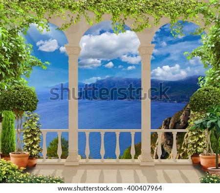 stock photo beautiful classic terrace with views of the mediterranean sea 400407964 - Каталог — Фотообои «Балконы, арки»