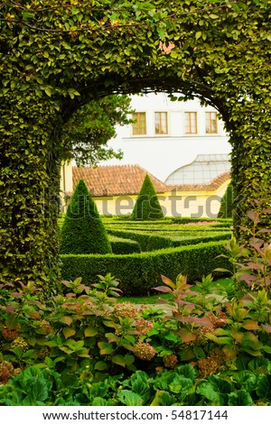 Beautiful classical European garden (Vtrbovska) in Prague, Czech Republic.
