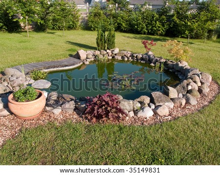 Beautiful classical garden fish pond surrounded by grass