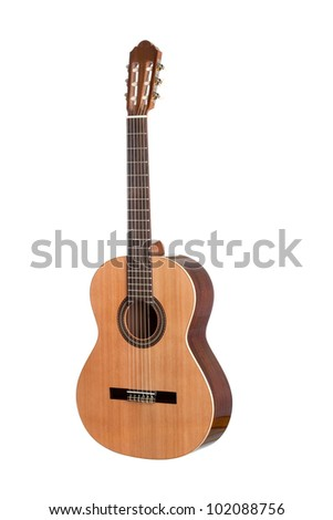 Beautiful classical guitar isolated on white background