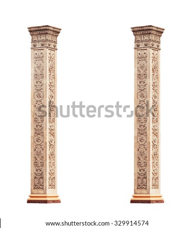 beautiful classical marble columns isolated on white background.