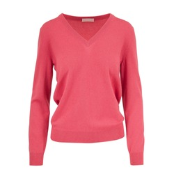 Beautiful Classical Pink Women's Wool Jumper Isolated on White Background. Stylish Warm Cashmere Pullover with V-Neck and Long Sleeves Front View. Best Modern Sweater Jersey Apparel for Ladys & Girls