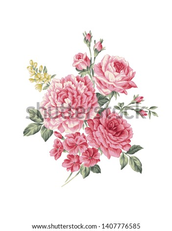 Beautiful classical Spring bouquet illustration