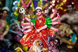 Beautiful clay idol of Goddess at durga puja festival in Bikaner, Rajasthan