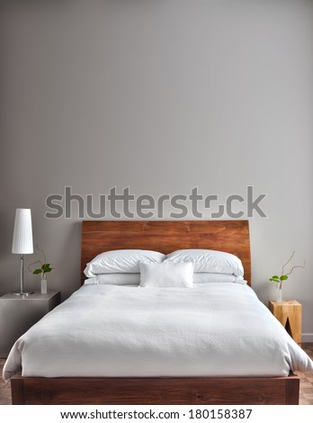 Beautiful Clean and Modern Bedroom with empty wall to add some text, logo, image, etc. #180158387