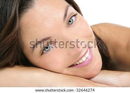 Beautiful clean cosmetics woman  close up portrait over white
