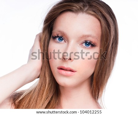 Beautiful clean face of the young girl