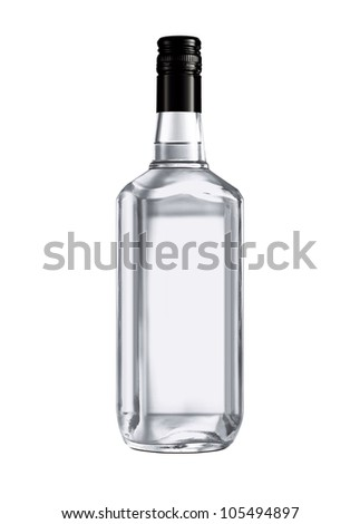Beautiful Clear Whisky Bottle against white background