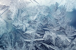 beautiful clear winter frosty patterns on glass
