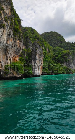 Beautiful Cliff and Clean Water at Phi Phi Island, Thailand