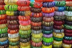 Beautiful close-up multicoloured glass bangles sales in Jodhpur street market.