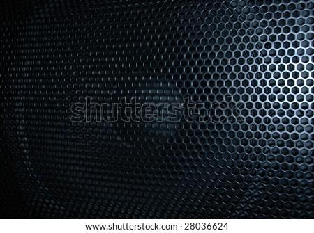 Beautiful close up net texture of black sound speaker - stock photo