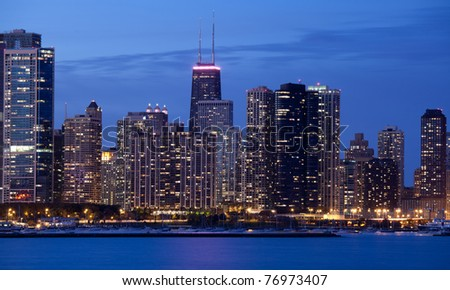 Beautiful close up of the city of Chicago at night