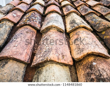 Beautiful close up photograph of old and weathered red clay tile roofing with rounded tiles overlapping one another in rows on a European home in Dubrovnik Croatia. #1148481860