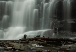 Beautiful close -up view of Ricketts Glen waterfall in Pennsylvania. Shot using slow shutter speed