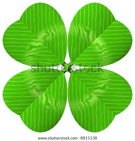 Beautiful closeup of a four leaf clover isolated on white