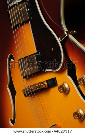 Beautiful closeup of electric guitar