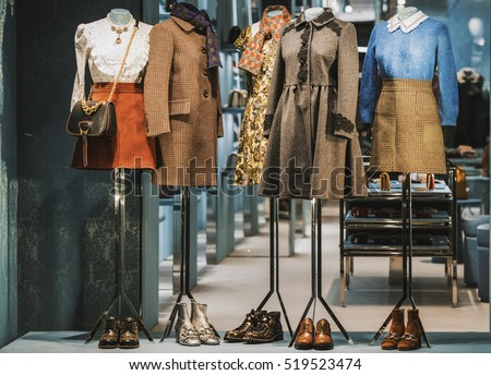 Beautiful clothing in a luxury store window