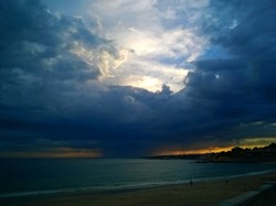 Beautiful Cloud with sunshine above, at Rio Tajo Bay Lisbon.