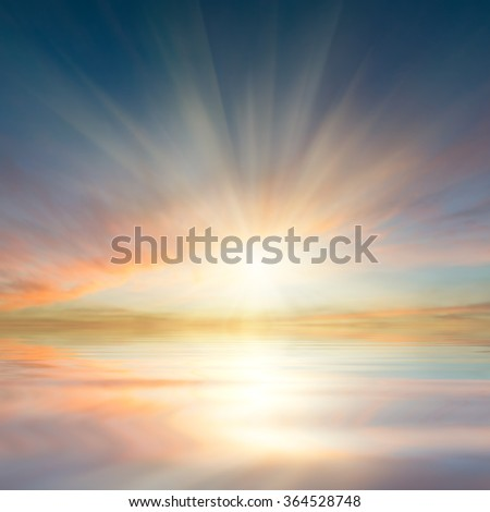 Beautiful clouds reflection in ocean, seascape, nature sky background #364528748