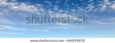 Beautiful clouds with blue sky background. Nature weather, cloud blue sky and sun #666858658