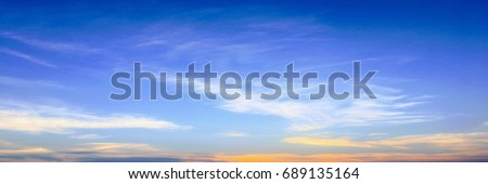 Beautiful clouds with blue sky background. Nature weather, cloud blue sky and sun #689135164