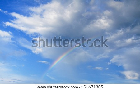 beautiful clouds with rainbow, sky background