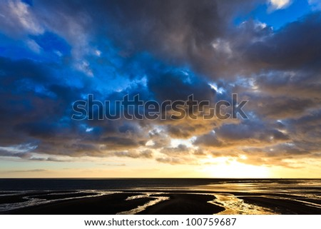 Beautiful cloudscape at sunset  at the sea