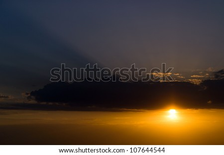 Beautiful cloudscape landscape sunset under the beach