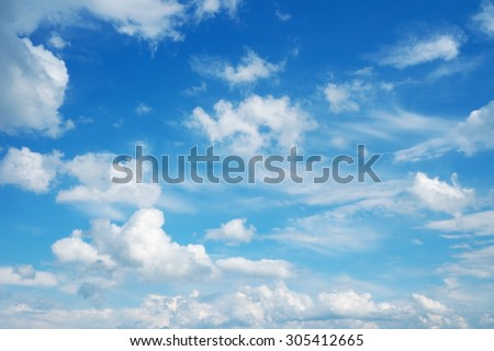 Beautiful cloudscape over horizon. Blue sky and clouds