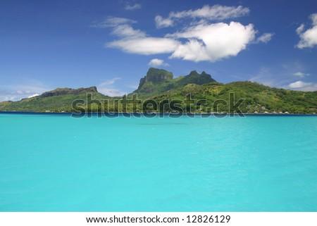 Beautiful cloudscape over the Pacific Island Bora Bora. French Polynesia - stock photo