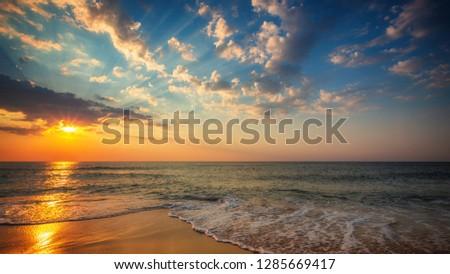 Beautiful cloudscape over the sea, sunrise shot #1285669417