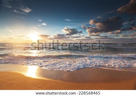 Beautiful cloudscape over the sea, sunset shot #228568465