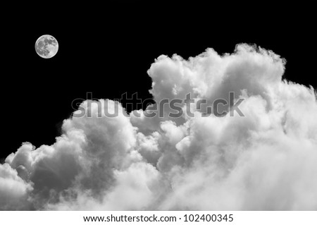 Beautiful cloudscape with fluffy clouds and moon - stock photo