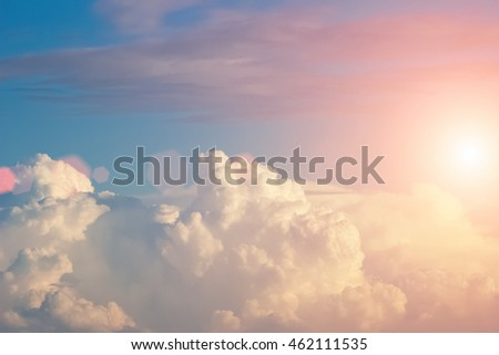 beautiful cloudy sky with sunset
