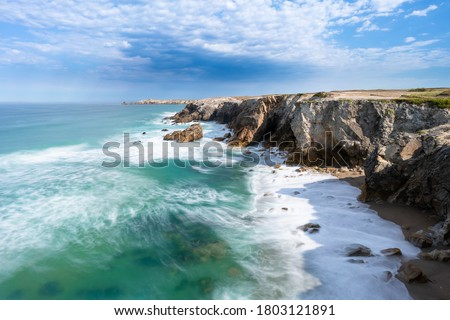 Beautiful coast line of Quiberon, Morbihan, Brittany / Bretagne, France. The cote sauvage (wild coast), known for its landscape with steep cliffs and high waves.