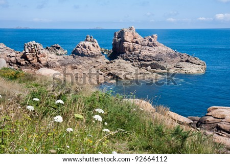 Beautiful coast of Brittany with big rocks
