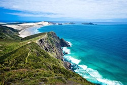Beautiful coast of Cape Reinga New Zealand