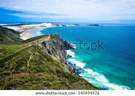 Beautiful coast of Cape Reinga New Zealand