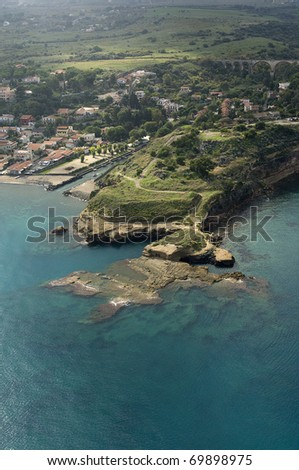 beautiful coast on the Blue Sea, siracusa, sicily, italy - stock photo