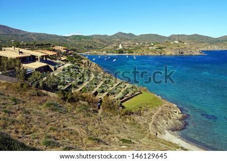 Beautiful coastal villa with Mediterranean garden in PortLligat, Cadaques, Catalonia, Costa Brava, Spain