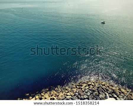Beautiful coastline. Cornwall. United Kingdom. Drone footage.