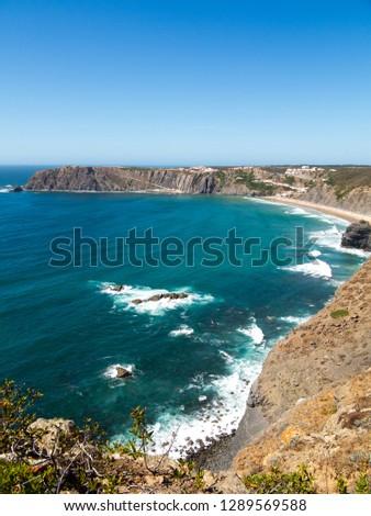 Beautiful coastline of Portugal with Atlantic ocean and beach #1289569588
