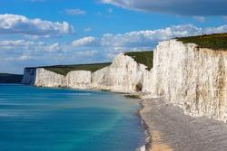 Beautiful Coastline of The Seven Sister Chalk Cliff, East Sussex, Eastbourne , England, United Kingdom