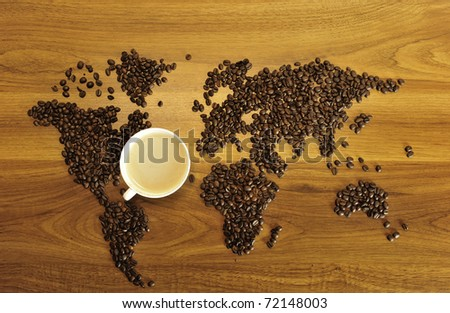 Beautiful coffee map on wooden background. International coffee industry concept
