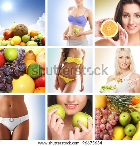 Beautiful collage about  healthy eating and nutrition